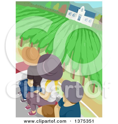 Clipart of Tourists in a Vineyard - Royalty Free Vector Illustration by BNP Design Studio