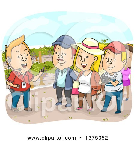 Clipart of a Tour Guide and Tourists in a Vineyard - Royalty Free Vector Illustration by BNP Design Studio