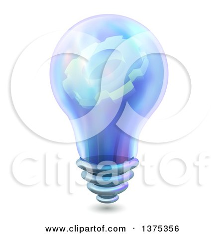Clipart of a Blue Light Bulb with a Gear Cog on the Inside - Royalty Free Vector Illustration by BNP Design Studio