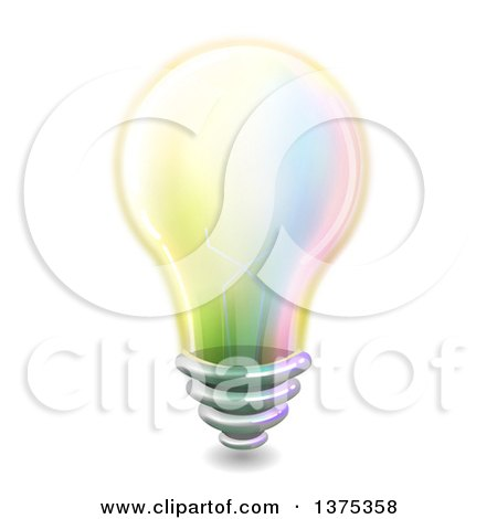 Clipart of a Colorful Light Bulb - Royalty Free Vector Illustration by BNP Design Studio