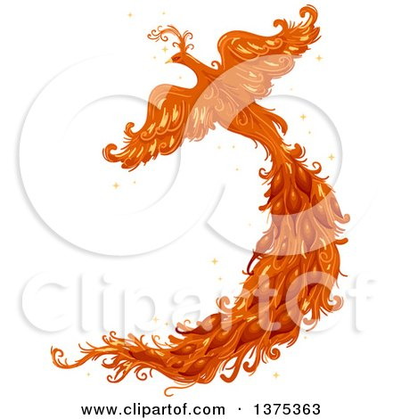 Clipart of a Flying Phoenix Firebird with a Long Tail - Royalty Free Vector Illustration by BNP Design Studio