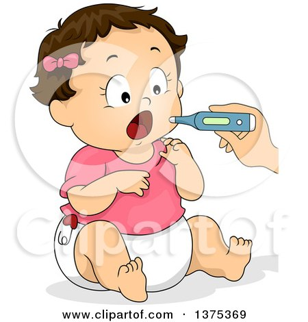 Clipart of a Brunette White Baby Girl Opening Her Mouth for a Thermometer - Royalty Free Vector Illustration by BNP Design Studio