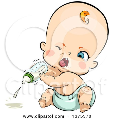 Clipart of a Red Haired White Baby Boy Angrily Throwing a Milk Bottle - Royalty Free Vector Illustration by BNP Design Studio