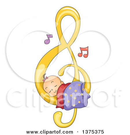 Clipart of a Brunette White Baby Girl Sleeping on a Music Note - Royalty Free Vector Illustration by BNP Design Studio
