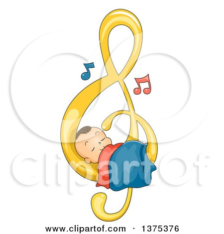 Clipart of a Brunette White Baby Boy Sleeping on a Music Note - Royalty Free Vector Illustration by BNP Design Studio