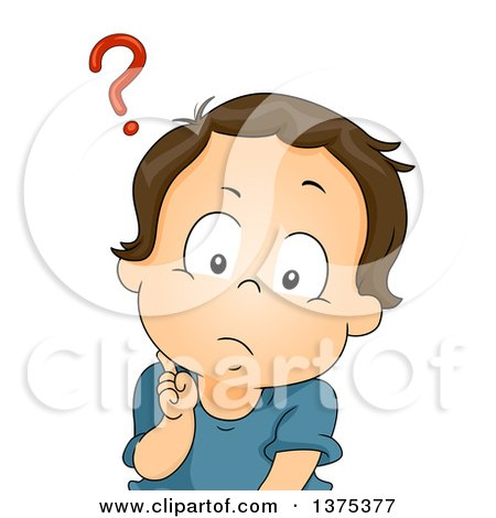 Clipart of a Confused Brunette White Baby Boy with a Question Mark over His Head - Royalty Free Vector Illustration by BNP Design Studio