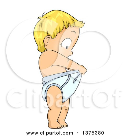 Clipart of a Blond White Baby Boy Looking down in His Diaper - Royalty Free Vector Illustration by BNP Design Studio