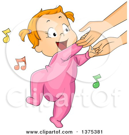 Red Haired White Baby Girl Holding His Mothers Hands and Dancing Posters, Art Prints