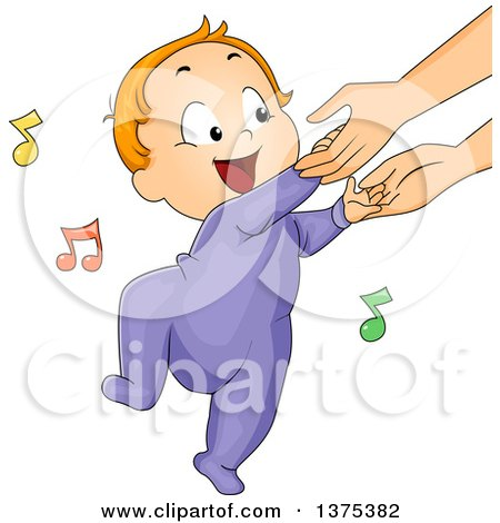 Clipart Of A Red Haired White Baby Boy Holding His Mothers Hands And Dancing Royalty Free Vector Illustration