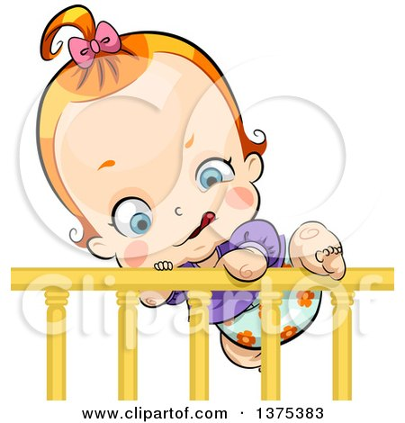 Clipart of a Red Haired White Baby Girl Climbing out of a Crib - Royalty Free Vector Illustration by BNP Design Studio