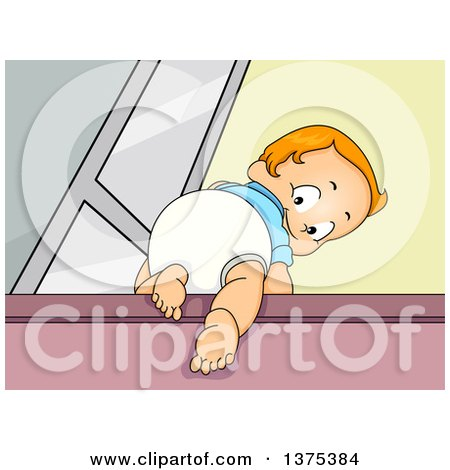 Clipart of a Red Haired White Baby Boy Climbing Stairs and Looking Back - Royalty Free Vector Illustration by BNP Design Studio
