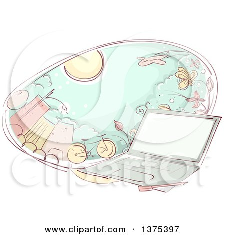 Clipart of a Sketched Laptop Computer and an Oval of City and Transportation - Royalty Free Vector Illustration by BNP Design Studio