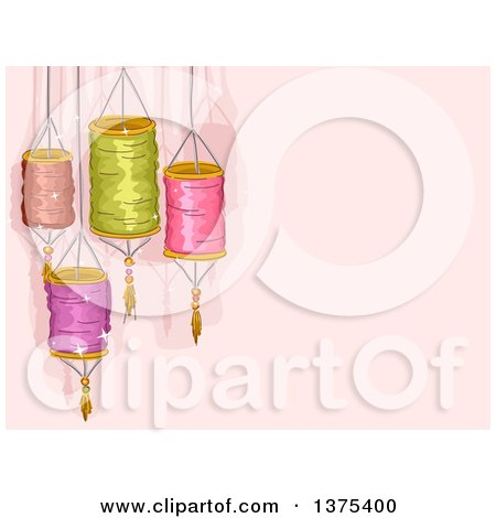 Clipart of Colorful Chinese Lanterns over Pink - Royalty Free Vector Illustration by BNP Design Studio