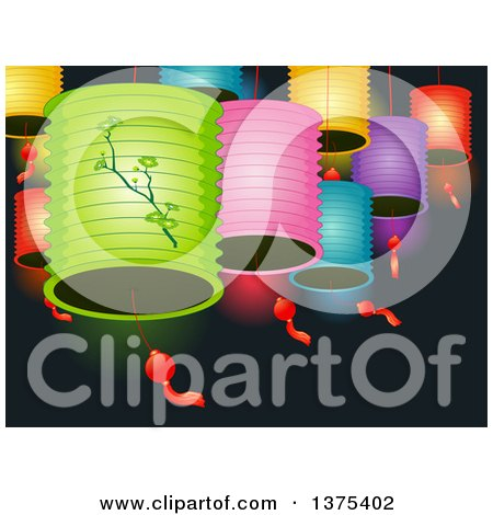 Clipart of Colorful Chinese Lanterns over Black - Royalty Free Vector Illustration by BNP Design Studio