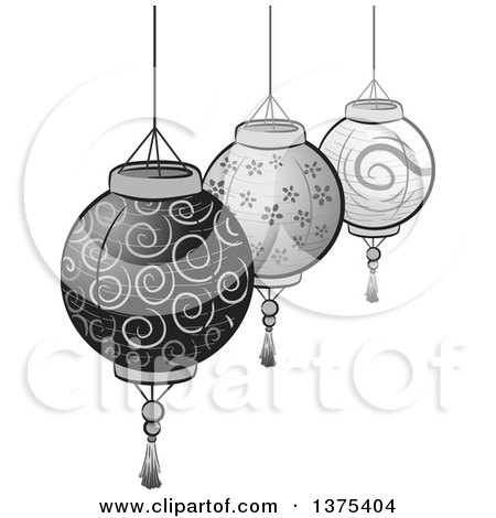 Clipart of Grayscale Patterned Paper Lanterns - Royalty Free Vector Illustration by BNP Design Studio