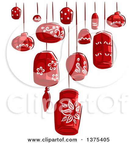 Clipart of Sketched Red Paper Lanterns - Royalty Free Vector Illustration by BNP Design Studio