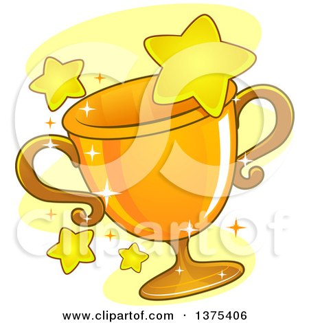 Clipart of a Gold Grophy Cup and Stars - Royalty Free Vector Illustration by BNP Design Studio