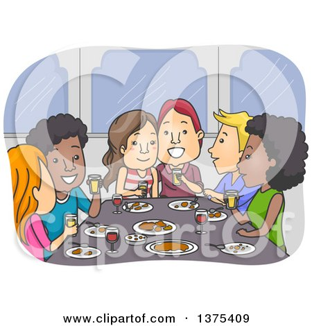 Clipart of Happy Couples Eating a Meal Together - Royalty Free Vector Illustration by BNP Design Studio