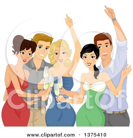 Clipart of a Group of Young Adults Toasting at a Party - Royalty Free Vector Illustration by BNP Design Studio