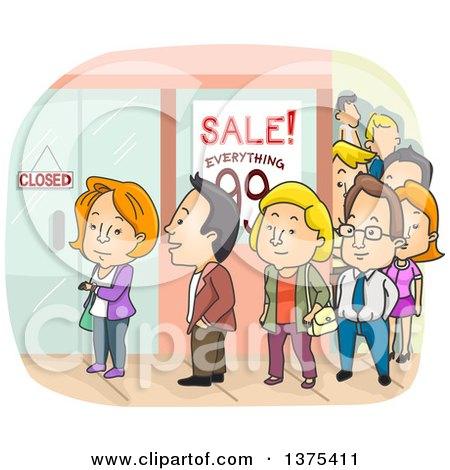 Clipart of a Line of People Outside a Mall - Royalty Free Vector Illustration by BNP Design Studio