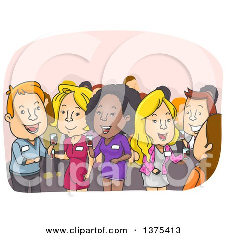 Clipart of People Socializing at a Convention - Royalty Free Vector Illustration by BNP Design Studio