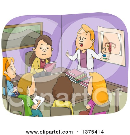 Clipart of a Class Room of White Women Discussing the Female Reproductive System - Royalty Free Vector Illustration by BNP Design Studio