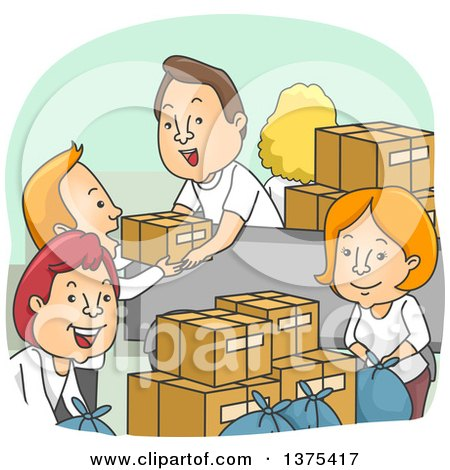 Clipart of a Group of Happy White Adult Volunteers Packing up Donation Boxes - Royalty Free Vector Illustration by BNP Design Studio