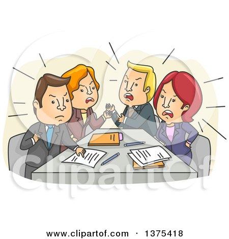 Clipart Of A Tense Meeting Of White Business Men And Women Arguing Royalty Free Vector Illustration