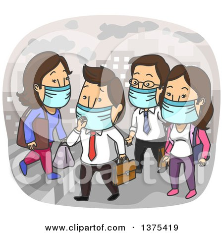 Clipart of White Men and Women Wearing Masks in a Polluted City - Royalty Free Vector Illustration by BNP Design Studio