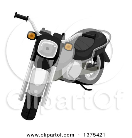 Clipart of a Black and Chrome Motorcycle - Royalty Free Vector Illustration by BNP Design Studio
