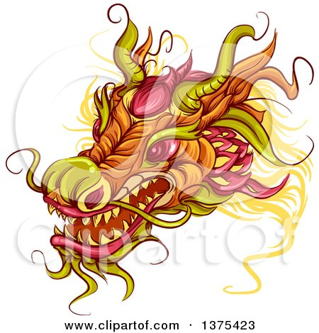 Clipart of a Chinese Dragon Head - Royalty Free Vector Illustration by BNP Design Studio