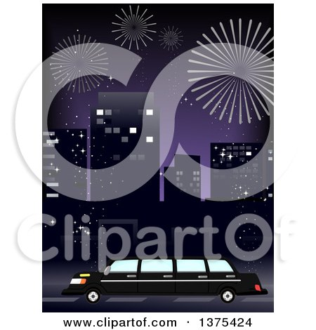 Clipart of a Party Limo in a City, with Fireworks in the Night Sky - Royalty Free Vector Illustration by BNP Design Studio