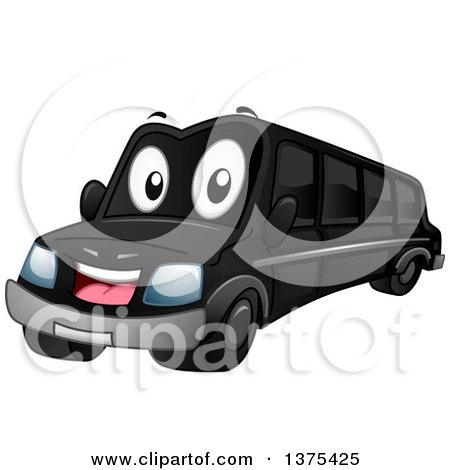 Clipart of a Happy Black Limousine Car - Royalty Free Vector Illustration by BNP Design Studio