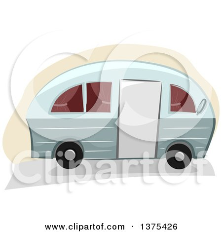 Clipart of a Camper Trailer - Royalty Free Vector Illustration by BNP Design Studio