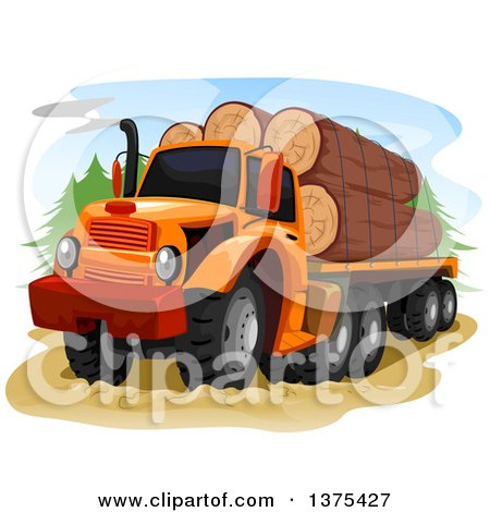 Clipart of a Logging Truck with Logs Loaded - Royalty Free Vector Illustration by BNP Design Studio