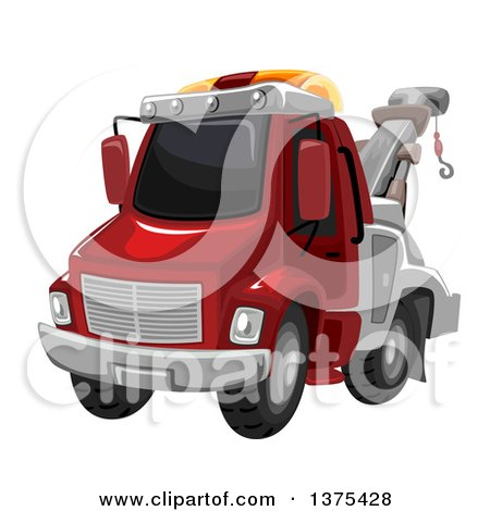 Clipart of a Red Tow Truck - Royalty Free Vector Illustration by BNP Design Studio