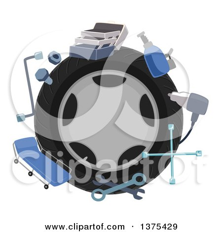 Clipart of a Tire Encircled with Mechanics Tools - Royalty Free Vector Illustration by BNP Design Studio