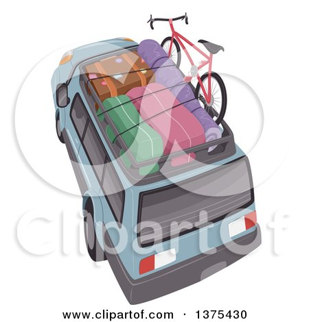 Clipart of a SUV with Luggage and a Bike on Top - Royalty Free Vector Illustration by BNP Design Studio