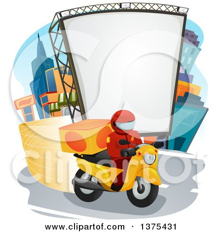 Clipart of a Food Delivery Man on a Motorcycle in a City - Royalty Free Vector Illustration by BNP Design Studio