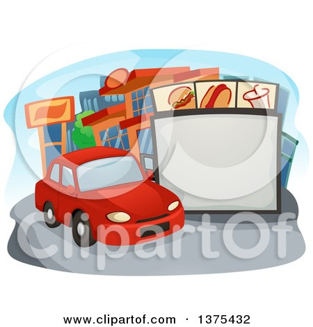 Clipart of a Car in Line at a Drive Thru Restaurant - Royalty Free Vector Illustration by BNP Design Studio