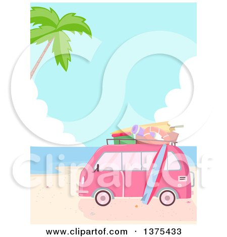 Clipart of a Pink Van Packed with Accessories Parked on a Tropical Beach - Royalty Free Vector Illustration by BNP Design Studio