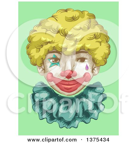 Clipart of a Smiling Clown Face with a Blond Wig, over Green - Royalty Free Vector Illustration by BNP Design Studio