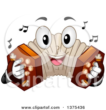 Clipart of a Happy Concertina Character Playing Its Buttons - Royalty Free Vector Illustration by BNP Design Studio