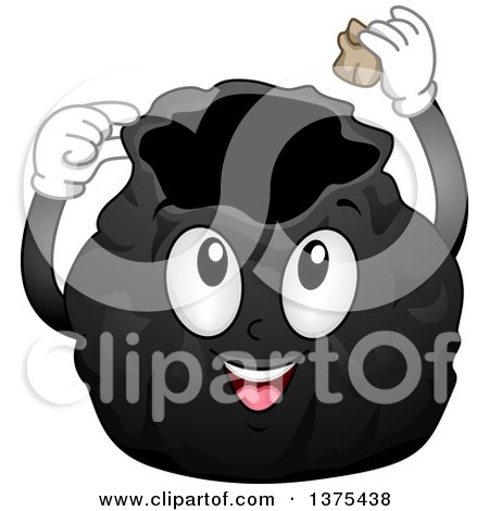 Clipart of a Black Garbage Bag Character Putting a Piece of Trash Inside - Royalty Free Vector Illustration by BNP Design Studio