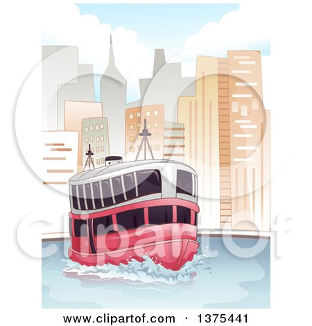 Clipart of a Passenger Ferry in a City - Royalty Free Vector Illustration by BNP Design Studio