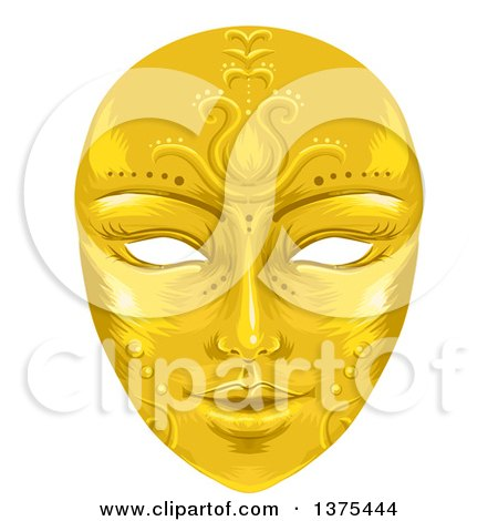 Clipart of a Gold Ornate Face Mask - Royalty Free Vector Illustration by BNP Design Studio