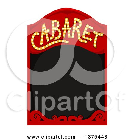 Clipart of a Red Cabaret Frame Around Black Text Space - Royalty Free Vector Illustration by BNP Design Studio