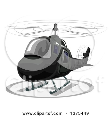 Clipart of a Landing Black Helicopter - Royalty Free Vector Illustration by BNP Design Studio