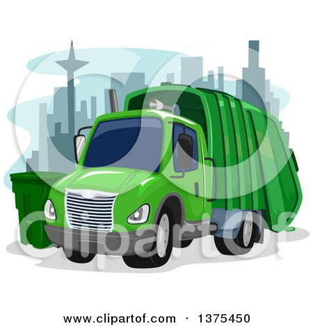 Clipart of a Green Garbage Truck in a City - Royalty Free Vector Illustration by BNP Design Studio