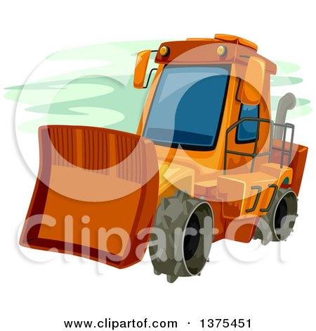 Clipart of an Orange Bulldozer - Royalty Free Vector Illustration by BNP Design Studio